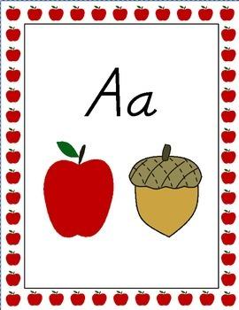 Apple Theme Alphabet Posters, Modern Manuscript