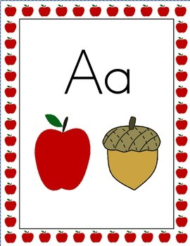 Apple Theme Alphabet Posters, Print Font