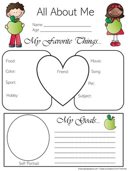 Apple Themed Worksheets | All About Me