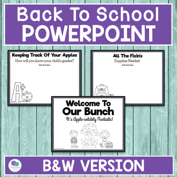 Apple Theme Back To School Powerpoint For Open House and Meet The Teacher