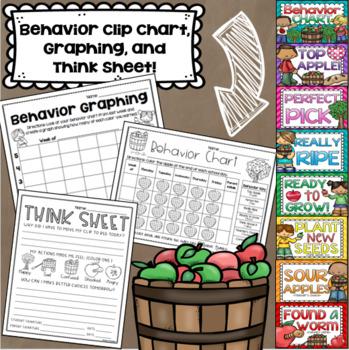 Apple Theme Class Decor Bundle (Behavior Chart, Name Plates, Labels, Signs)