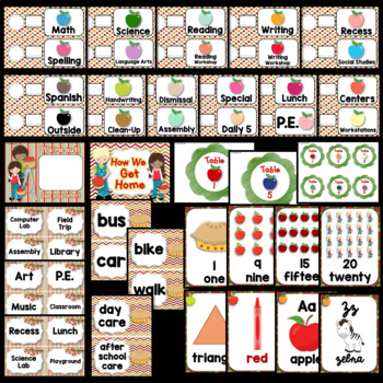 Apple Theme Classroom Decor EDITABLE (Apple Classroom Theme Decor)