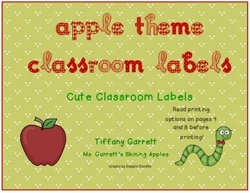 Apple Theme Classroom Labels