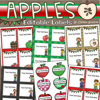 Apple Theme Classroom Labels Decorations Editable Powerpoint
