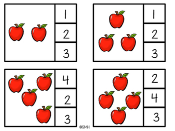 Apple Theme Clip-its for Math (Numbers 1-10)