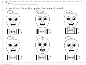 Apple Theme - Color Word Practice