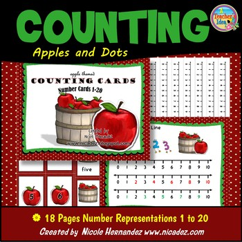 Counting - {Apple Theme Counting Cards Numbers 1 to 20}