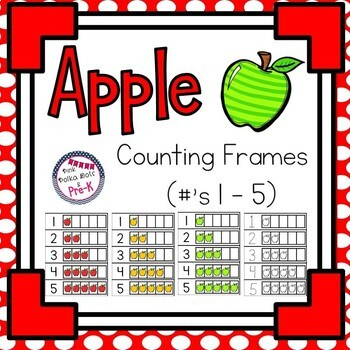 Apple Theme Counting Frames - Numbers 1 - 5 by Pink Polka Dots and Pre-K
