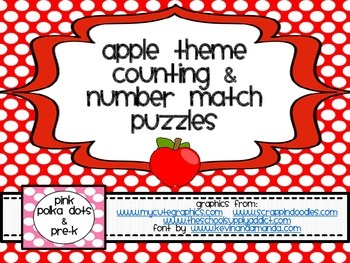 Apple Theme Counting and Number Match Puzzles (1 - 5)