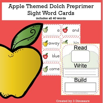 Apple Theme Dolch Preprimer Sight Words