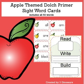 Apple Theme Dolch Primer Sight Words