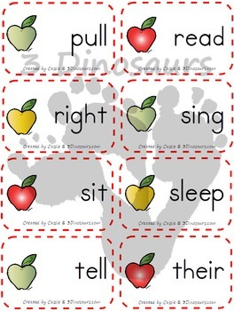 Apple Theme Dolch Second Grade Sight Words
