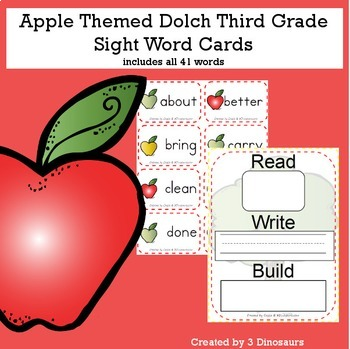 Apple Theme Dolch Third Grade Sight Words