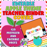 Apple Theme Editable Teacher Binder Covers