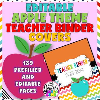 Apple Theme Editable Teacher Binder Covers