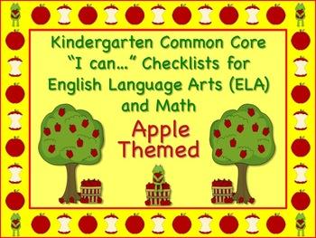 Apple Themed Kindergarten Common Core Checklist (ELA) Language Arts & Math
