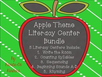 Apple Theme Literacy Center Bundle
