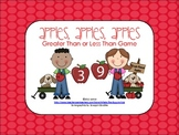 Apple Theme Math Center Game {Greater Than Less Than}