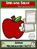 Apple Activities Multiplication Spin and Solve Math Centers