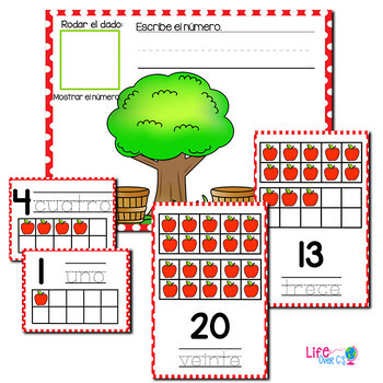 Apple Theme Numbers 1-20 SPANISH | Counting to 20 | Math Centers