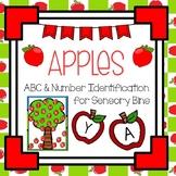 Apple Theme Sensory Bin Letter and Number Identification