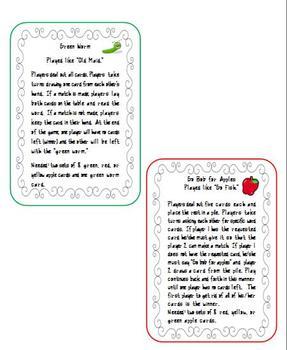 Apple Theme Sight Word / Literacy Games
