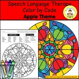 Apple Theme Speech Therapy Color By Code Grab and Go Activity