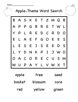 Apple Theme Word Search