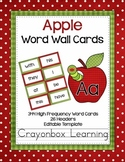 Apple Theme Word Wall Headers & Cards - with editable file