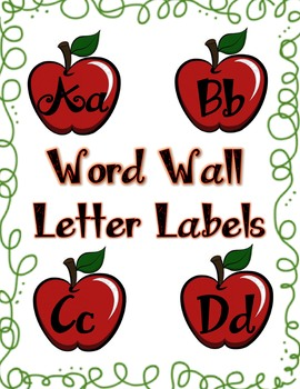 Apple Theme Word Wall Header Labels in Dark Red
