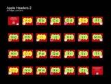 Apple Theme Word Wall Headers/Alphabet Cards (Landscape)