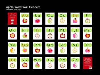 Apple  Theme Word Wall Headers/Alphabet Cards (Portrait)