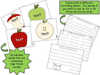 Apple Theme Write-the-Room {Editable!}