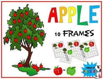 Apple Themed 10 frames Numbers 1-20 (Inspired by mini erasers!)