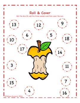 Apple Themed Addition Roll and Cover