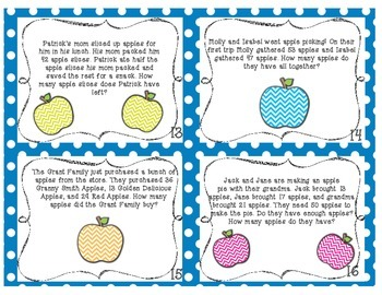 Apple Themed Addition and Subtraction Task Cards (with story problems)