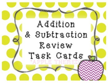 Apple Themed Addition and Subtraction Task Cards (with sto