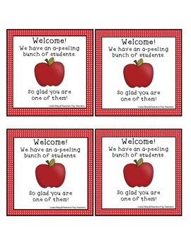 Apple Themed Back to School Gift Tags