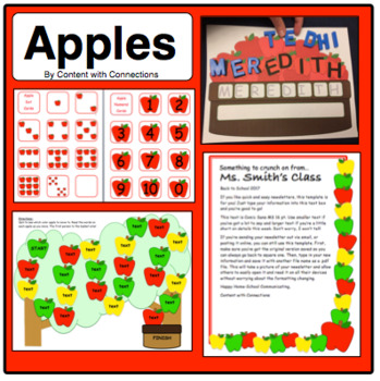 Apple Activities: Math, Newsletter, Name Practice, Game & Apple Graph! (bundle)