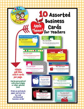 10 Unique Apple-Themed Business Cards for Teachers--EDITABLE