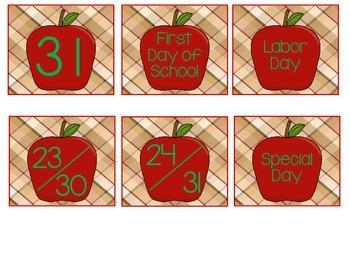 Apple Themed Calendar Numbers