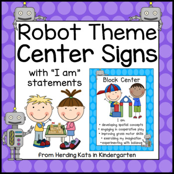 Robot Themed Center Signs