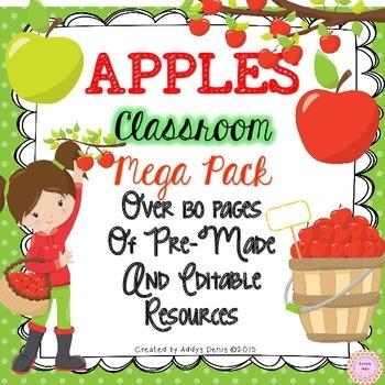 Apple Themed Classroom Decor - EDITABLE
