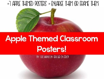 Apple Themed Classroom Posters with Quotes