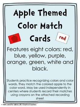 Apple Themed Color Match Cards and Recording Sheet