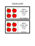 Apple Themed Count and Write for 4 x 6 Task Boxes