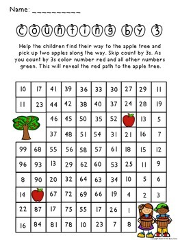Fall Counting by 3 Activity