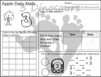 Apple Themed Daily Math