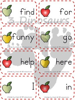 Apple Themed Dolch Sight Words & Nouns Cards