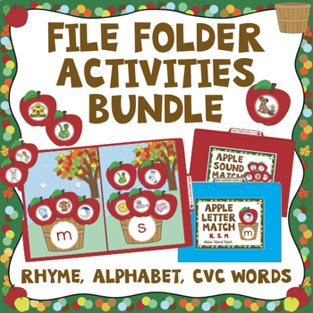 Apple Themed File Folder Activities - Early Literacy